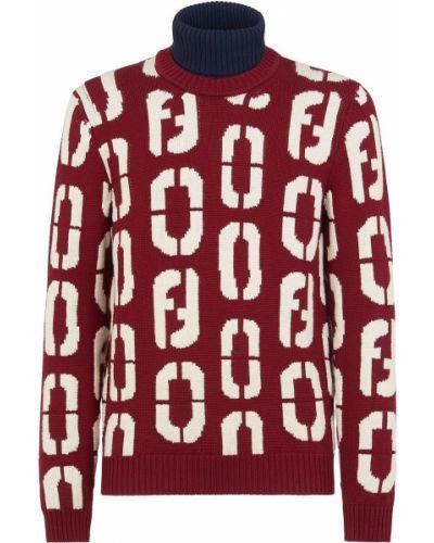 Шерстяной красный с рукавами джемпер Fendi