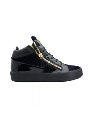 Niebieskie sneakersy skorzane eleganckie Giuseppe Zanotti