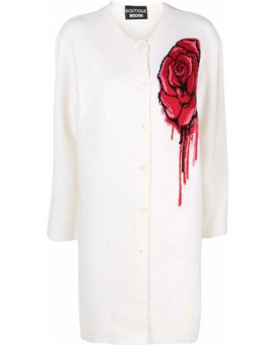 Шерстяное белое длинное пальто на пуговицах Moschino