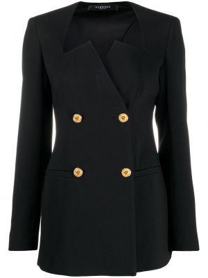 Шелковый черный удлиненный пиджак двубортный Versace