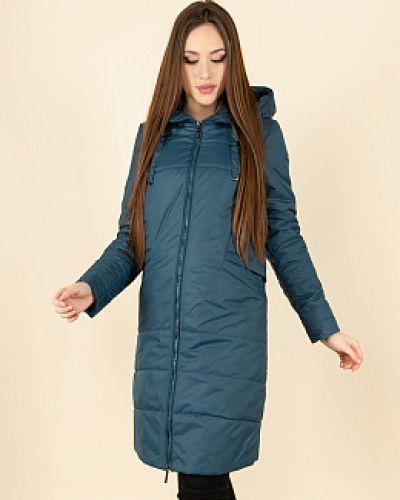 Пальто с капюшоном - синее каляев