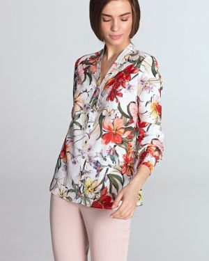 Bluzka koszulowa w kwiaty - żółta Nife
