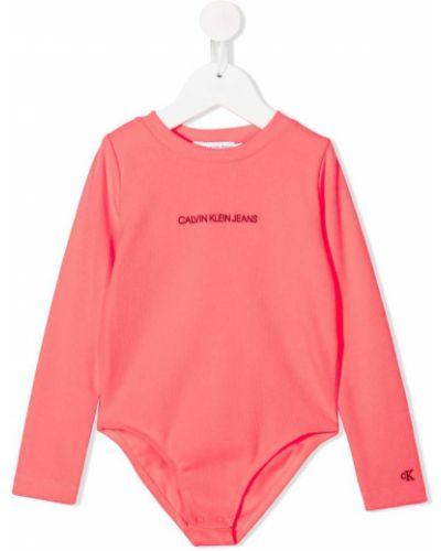 Розовое хлопковое боди с круглым вырезом круглое Calvin Klein Kids