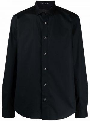 Czarna koszula bawełniana z długimi rękawami Philipp Plein
