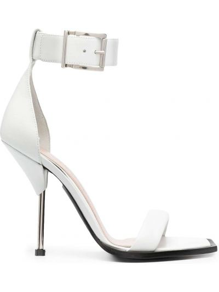 Białe sandały skorzane klamry Alexander Mcqueen