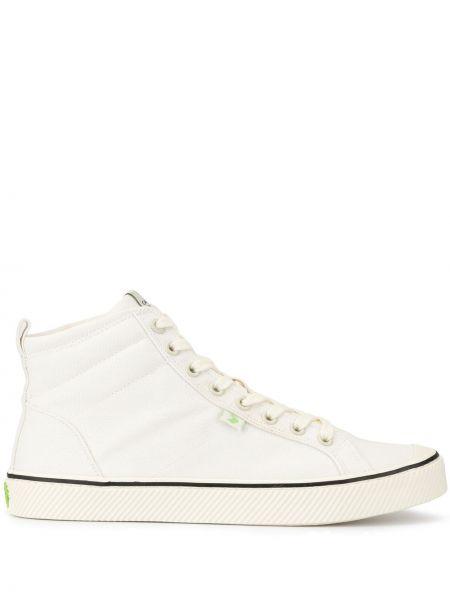 Białe wysoki sneakersy sznurowane koronkowe Cariuma