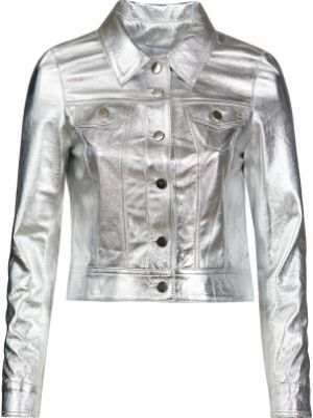 Серебряная кожаная куртка на пуговицах Albano