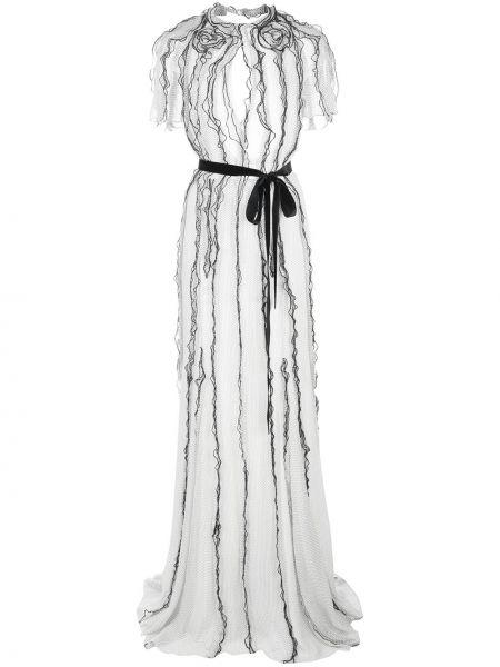 Белое платье мини с оборками с вырезом с короткими рукавами Jason Wu Collection