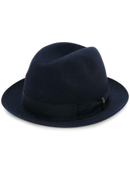 Wełniany niebieski kapelusz trylby Borsalino