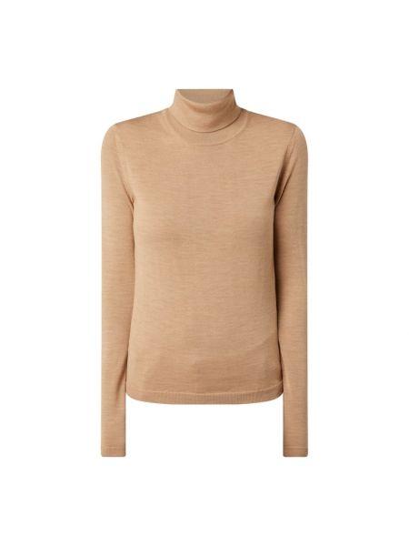 Wełniany brązowy sweter z kołnierzem Boss