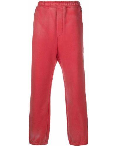 Брючные красные прямые брюки с манжетами с карманами We11done