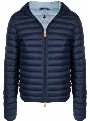 С рукавами синяя длинная куртка с капюшоном Save The Duck