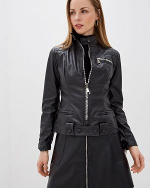 Кожаная куртка черная осенняя Alasia Fashion House