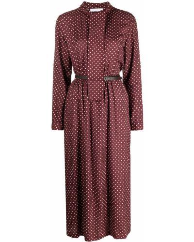 Шелковое красное платье миди в горошек Fabiana Filippi