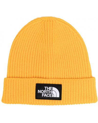 Желтая трикотажная шапка бини с отворотом The North Face Kids