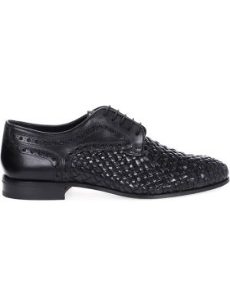 Кожаные черные туфли на шнуровке на каблуке матовые Pertini