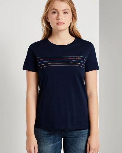 Синяя с рукавами футболка Tom Tailor Denim