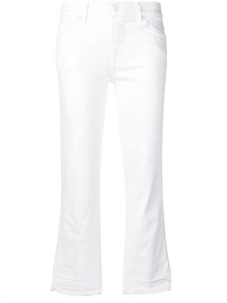 Белые укороченные джинсы с заклепками с пайетками с поясом 7 For All Mankind