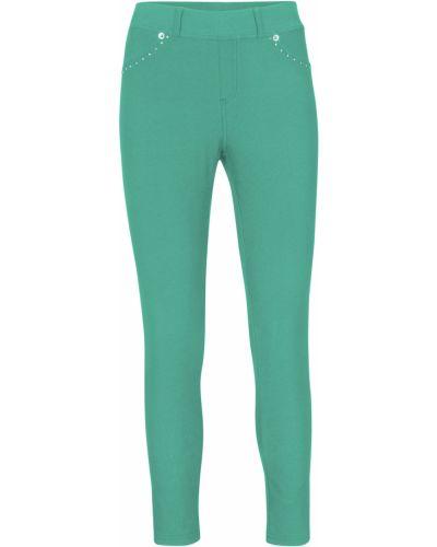 Зеленые джинсы со стразами Bonprix