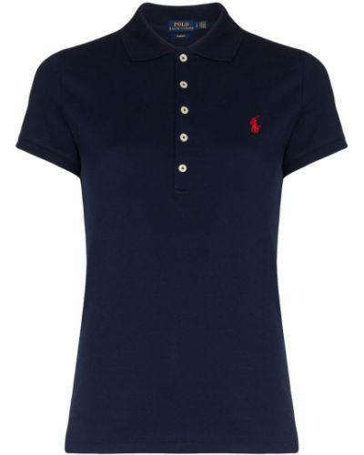 Хлопковая синяя с рукавами рубашка Polo Ralph Lauren