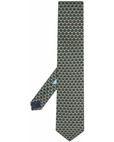 Зеленая шелковая резинка для волос Salvatore Ferragamo