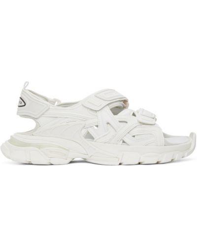 Skórzany biały skórzany sandały na pięcie na paskach Balenciaga