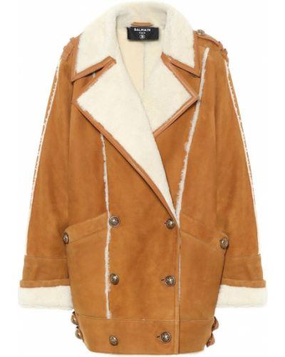 Brązowy zimowy płaszcz z prawdziwej skóry Balmain