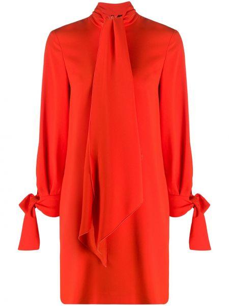 Оранжевое с рукавами платье миди оверсайз с завязками Paule Ka