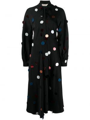 Платье миди с длинными рукавами - черное Marni