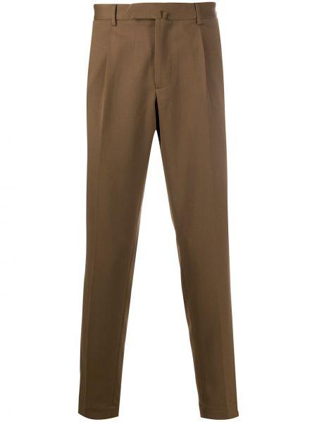 Шерстяные облегающие деловые зауженные брюки с карманами Dell'oglio