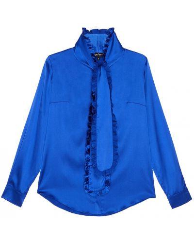 Синяя шелковая блузка с воротником ли-лу