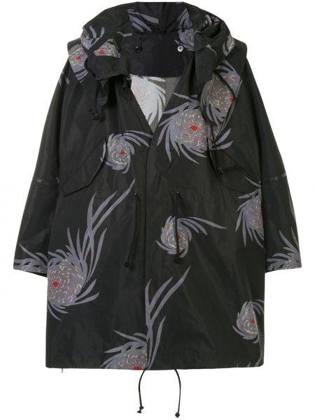 Czarny płaszcz z dekoltem w serek oversize Undercover