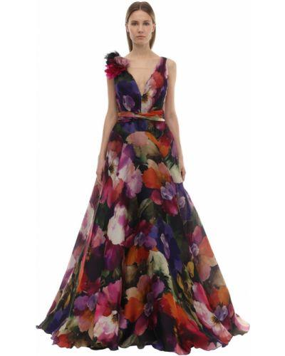Платье из органзы через плечо Marchesa