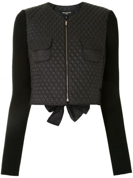 Черная стеганая куртка с бриллиантом с карманами с длинными рукавами Paule Ka