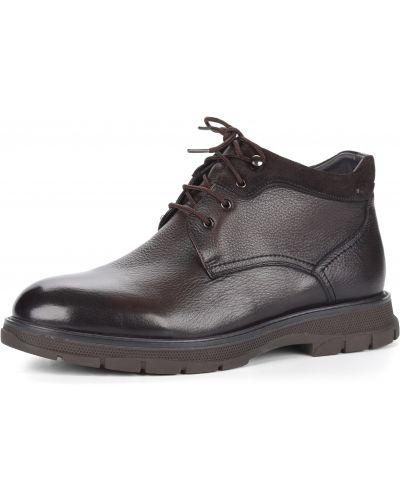 Коричневые кожаные ботинки на шнуровке Respect