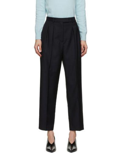 Брючные шерстяные серебряные брюки с карманами A.p.c.