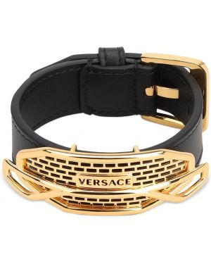 Czarna bransoletka skórzana klamry Versace