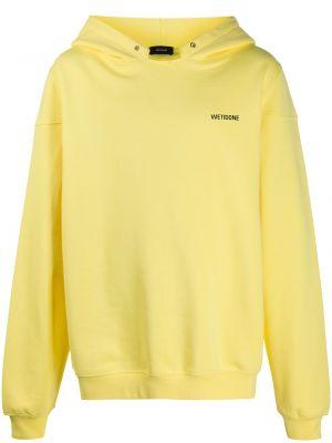 С рукавами хлопковая желтая толстовка с капюшоном We11done