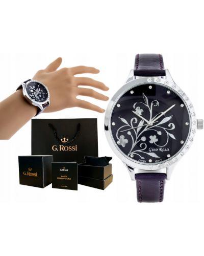 Fioletowy klasyczny zegarek na skórzanym pasku srebrny Gino Rossi