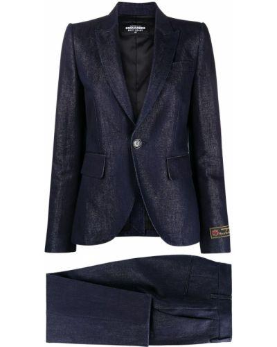 Зауженный хлопковый синий джинсовый костюм Dsquared2