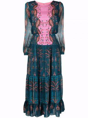 Синее платье из полиэстера Saloni