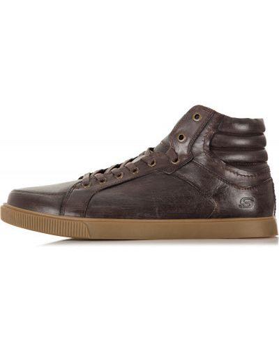 Высокие кеды кожаный на шнуровке Skechers