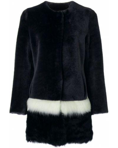 Черное длинное пальто с капюшоном с воротником Cara Mila