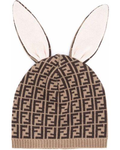 Trykotowy kapelusz z logo brązowy Fendi Kids