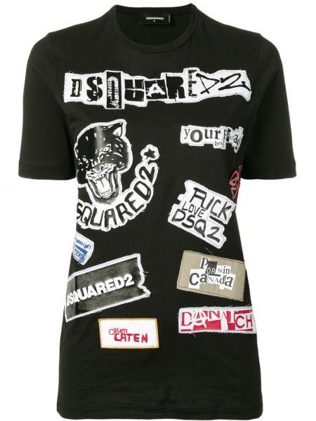 Прямая с рукавами черная футболка Dsquared2