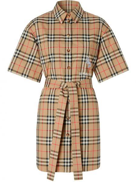 Платье мини с вышивкой винтажное на пуговицах с воротником Burberry