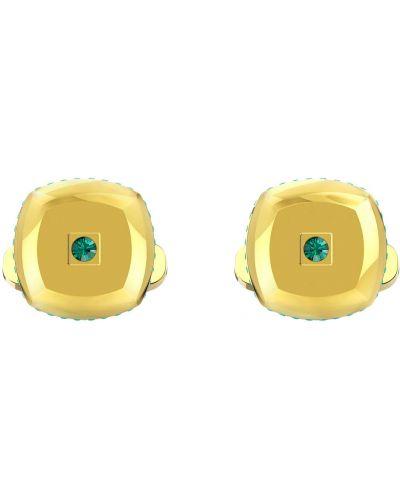 Золотистые запонки золотые металлические Swarovski