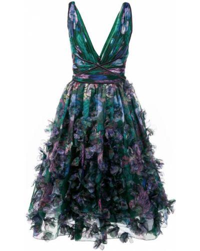 Вечернее платье с цветочным принтом без рукавов Marchesa Notte