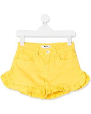 Шорты кожаные желтый Msgm Kids