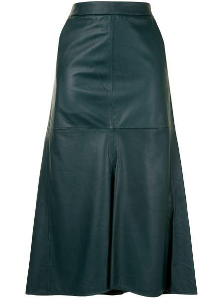 С завышенной талией зеленая кожаная юбка миди Tibi